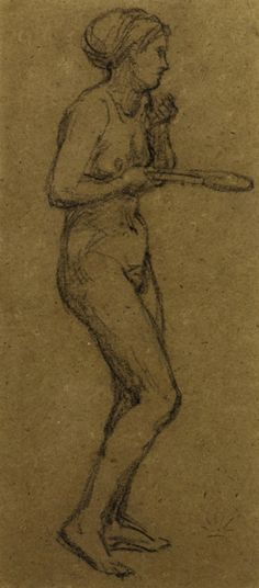 """Albert Joseph Moore (1841 - 1893)   Study for """"Shuttlecock""""   Charcoal on brown paper  9.50 x 22.00cm (3.74 x 8.66 inches)"""