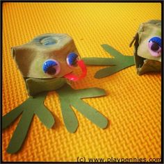 Egg Carton Frogs Crafts - super cute.