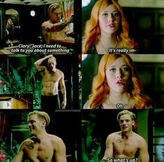 Clary Fray and Jace Wayland Shirtless Oh. Wow. ;) Shadowhunters TMI The Mortal Instruments
