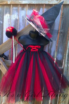 Black and Red Witch Tutu Dress with Witch Hat - Halloween - Custom - Child Size. $50.00, via Etsy.