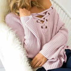 Cotton #Sweater With Lacing On The Chest ____________________________________________ Zorket Provides Only Top Quality Products for Reasonable Prices + FREE SHIPPING Worldwide ____________________________________________