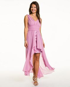 Chiffon V-Neck Gown  - Ethereal cascading chiffon fabric creates a head-turning gown.