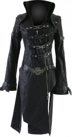 Bran's Semi-Formal Wear for dinner in Cassadaga. Punk Rave goth coat straps with buckle