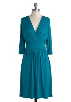 It's a Sign Dress - Blue, Solid, Casual, Minimal, A-line, 3/4 Sleeve, Good, V Neck, Mid-length, Jersey, Knit