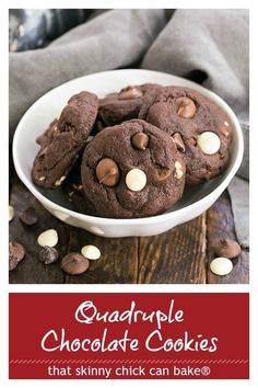 Chewy Quadruple Chocolate Cookies - outrageously delicious and perfect for all the chocoholics in your life! These cocoa cookies are loaded with 3 kinds of chocolate chips! Heaven in every bite! #chocolatecookes #chocolatechocolatechipcookies #easyrecipe #chocoholics #chewycookies #thatskinnychickcanbake