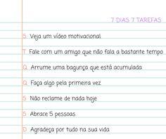 SETE METAS PARA SETE DIAS | Blog Sabrina Nunes