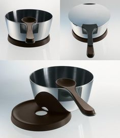 Alessi - Pasta Pot, Saucepan, Lid, Spoon and Trivet by Patrick Jouin and Alain Ducasse