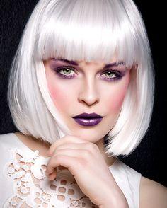 Model: Neon Lolita with Silke Gabrielle Lorde Hair, Chin Length Bob, White Blonde, White Hair, Platinum Blonde Hair, Bowl Cut, Vintage Glamour, Up Hairstyles, Barber Shop