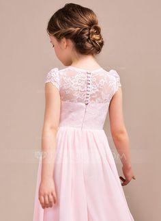 Vestidos princesa/ Formato A Decote redondo Longos Tecido de seda Renda Sem magas Vestidos de Menina das Flores Vestido de daminha
