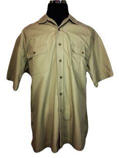 EDDIE BAUER Mens XLT Tall Safari Casual Shirt Beige Cotton Short Sleeve #EddieBauer #ButtonFront