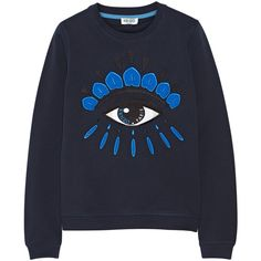 KENZO Icon embroidered cotton sweatshirt ($245) ❤ liked on Polyvore featuring tops, hoodies, sweatshirts, sweaters, jumpers, kenzo, purple, kenzo top, colorful sweatshirts and embroidered cotton top
