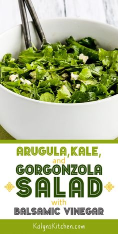 We loved the combination of Arugula, Kale, and Gorgonzola Salad with Balsamic Vinegar, but make this tasty low-carb salad with only one type of greens if you prefer! [found on ] dietsaladrecipes Diet Salad Recipes, Kale Recipes, Salad Dressing Recipes, Vegetarian Recipes, Chicken Recipes, Cooking Recipes, Salad Dressings, Low Carb Appetizers, Keto Friendly Desserts