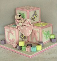 Christening building blocks cake by Zoe's Fancy Cakes, who also has a You Tube channel, check out her fb page! they are fab :)