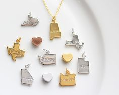 Build your Own State Necklace - Gold or Silver State Charm Letter Custom Bridal Personalized Bridesmaid Gift Wedding Initial Necklace