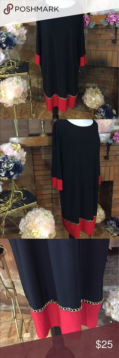 Msk black and red shift dress size 2X Msk Woman black and red shift dress with gold chain decoration on the front bottom. Size 2X. Approx measurements are 52 inch circumference and 40 inches long. Material is super stretchy. New with tags. Please check out all pictures. Read full description of the items. Ask me any questions. MSK Dresses Long Sleeve