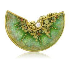 Circa 2000 Marilyn Druin 18k Gold Enamel Diamond Brooch Pendant