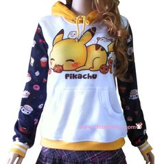 This design features our cute fanart of Pikachu (Pokemon) with kawaii animals.  - Made of soft polyester fibers - Adjustable drawstring hood - Standard Fit - Machine Washable - Design is imprinted using an advance heat sublimation technique - Color may vary slightly due to the color calibr...