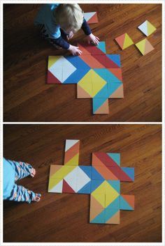"""This puzzle is made from wood, but a cheaper version may be to use 6"""" vinyl tiles. They're paintable so it shouldn't be too difficult to make."""