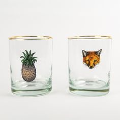Double Old Fashioned Fox and Pineapple Glasses | Drake General Store