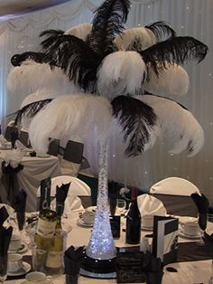 diy 1920's centerpieces | Ostrich Feather Centrepiece - Feather Centrepieces - Centrepiece Hire