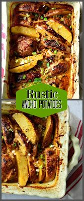 These rustic Mexican Scalloped Potatoes, Papas Anchos, are filled with cheese and crushed ancho chilies. Great with any grilled foods including burgers, these also are perfect with roast chicken! #potatoes #mexicanfood #chilies