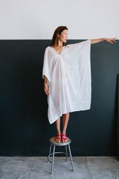 Two Caftans from Brooklyn, New York; White Sheer Cotton Caftan | @andwhatelse