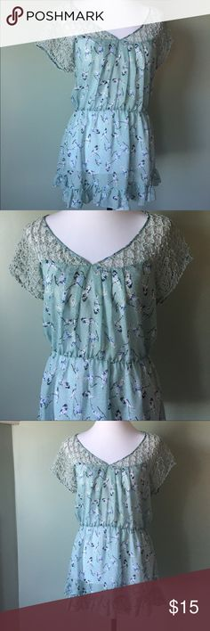 Charming Charlie bird boho top large So pretty. Charming Charlie pale green sheer top with cute birds. Size tag is missing but I'm pretty sure it's a large. Longer length. Can be worn as a long, sheer top, a beach cover up or even a short dress with a little slip. Really pretty crochet top with a funky gypsy boho style. So cute! Perfect condition. Charming Charlie Tops Tunics