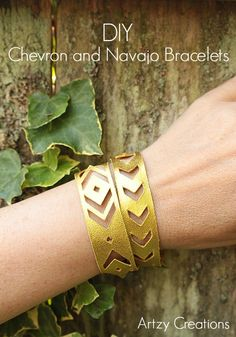 DIY Leather Chevron and Navajo Bracelets made with Cricut Explore -- Artzy Creations. #DesignSpaceStar Round 2