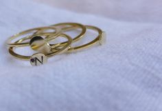 Tiny Initialized stack-able ring by serahgaon on Etsy