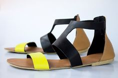 3-Tone Goddess Leather Sandals - Womens Shoes - Any Colors - All Sizes