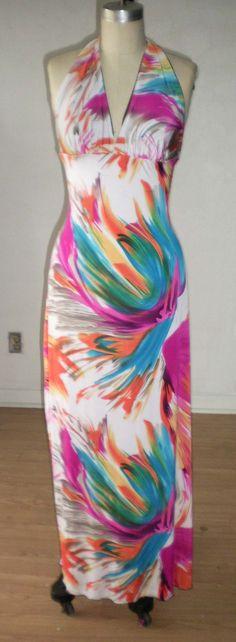 Tropical Stripe Maxi Dress. $45.00, via Etsy.