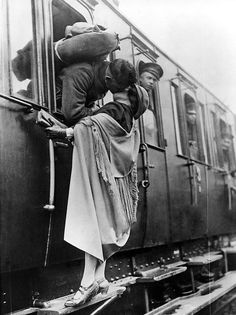 US Soldier Tenderly Kissing His Girlfriend Goodbye Before Departing By Train, 1922