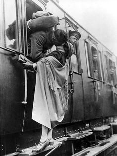 US Soldier Tenderly Kissing His Girlfriend Goodbye Before Departing By Train, 1922