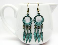 Boho Feather Earrings  Blue Feather by AVeryCoolEarringShop