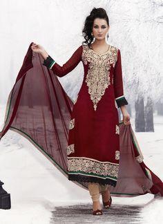 $110 #Maroon #Georgette #Embroidered #Pakistani #Suit #Cbazaar