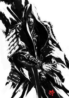 Samurai Sumi Spirit 2 by Deryl Braun on ArtStation. Image Japon, Ink Illustrations, Illustration Art, People Illustration, Ninja Assassin, Samourai Tattoo, Illustration Inspiration, Character Art, Character Design