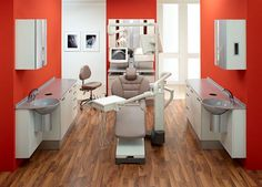 dental office design | side cabinets with sinks both sides