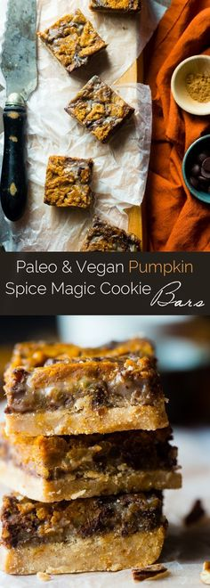 Vegan Pumpkin Spice Paleo Magic Cookie Bars - A healthier, dairy and gluten free version of the classic dessert that are packed with spicy-sweet fall flavors and are so easy to make! | http://Foodfaithfitness.com | /FoodFaithFit/