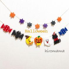 ハロウィンガーランド✩ | ハンドメイドマーケット minne Halloween Beads, Perler Beads, Animal Crossing, Pixel Art, Crochet Necklace, Cartoon, Crafts, Ideas, Garlands