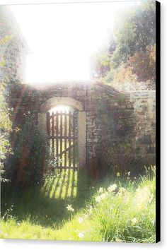 HEAVENLY GATE Canvas Print featuring the photograph Heavenly Gate by & copyright Richard Brookes.  DESCRIPTION: A shot into the sun gave a magical and enticing feel to what was beyond the gate in this walled garden at Cotehele in Cornwall.