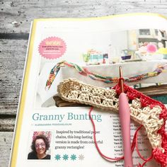 I'm enjoying making these granny bunting chains the pattern is in this months @insidecrochet I haven't worked granny chains using this…