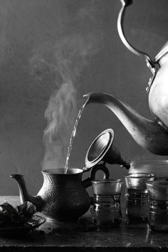 Food Photography: Tea | hungry ghost // Tea, Shutter Speed, Black and White, Rustic/Vintage, Steam, Hot Drinks, Hot Tea, Teapot