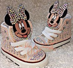 This Minnie Mouse Converse is just one of the custom, handmade pieces you'll find in our sneakers & athletic shoes shops. Cute Baby Shoes, Baby Girl Shoes, Kid Shoes, Girls Shoes, Bedazzled Shoes, Bling Shoes, Minnie Mouse Converse, Mickey Mouse, Bling Converse