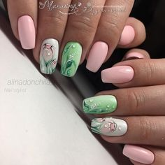 18 Ideas For Lime Green Nails With Accent Pink Nail Designs, Best Nail Art Designs, Spring Nail Art, Spring Nails, Lime Green Nails, Summer Gel Nails, Nail Art Design Gallery, Nagel Hacks, Floral Nail Art