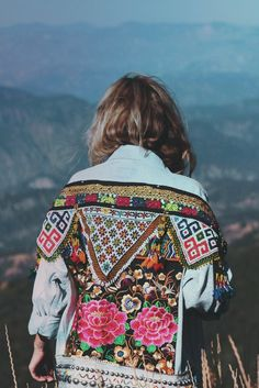 ☾ ☆☽ One of a kind embellished denim jacket with fair trade embroidered rose textile from the Hmong Hill Tribe of Thailand and Kuchi beaded embellishments from Afghanistan. Sewn on light blue denim. P