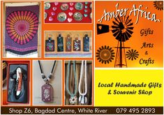 Visit our shop to find your local handmade gifts and souvenir. We supply gifts for tourists and our local community. Arts and Crafts shop in Bagdag Centre, White River. Mpumalanga.