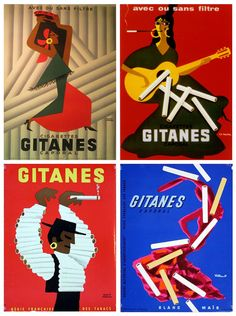 Vintage French cigarette brand Gitanes ads