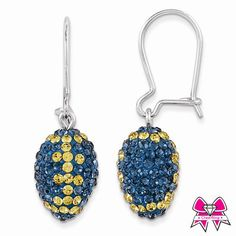 CheerBling Blue & Gold Team Color Football Sterling Silver Swarovski Earrings