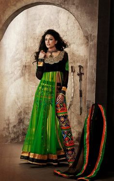 Green Net Embroidered Parallel Pant Suit SJ182119