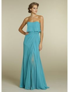 A-line Sweetheart Floor Length Blue Chiffon Long Bridesmaid Dress / Formal / Wedding Guest Dresses